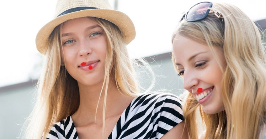 Young women with cold sores
